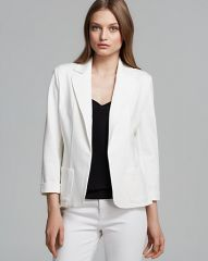 AQUA Blazer - Patch Pocket Ponte in white at Bloomingdales