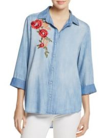AQUA Button Down Embroidered Chambray Shirt - 100  Exclusive at Bloomingdales