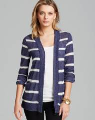 AQUA Cardigan - Open Front Loose Knit Striped with Pockets at Bloomingdales
