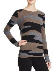 AQUA Cashmere Camo Crewneck Cashmere Sweater in Black Brown Grey at Bloomingdales
