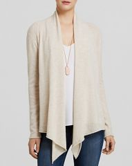AQUA Cashmere Cardigan - Drape Front in Oatmeal at Bloomingdales
