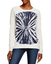 AQUA Cashmere Circle Tie Dye Sweater in White at Bloomingdales