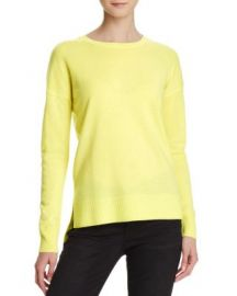 AQUA Cashmere High Low Crewneck Cashmere Sweater in Lemon at Bloomingdales