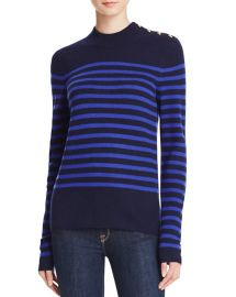 AQUA Cashmere Stripe Mock Neck Cashmere Sweater in Peacoat Royal Blue at Bloomingdales