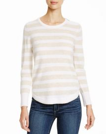 AQUA Cashmere Stripe Zip Shoulder Sweater in Oatmeal at Bloomingdales