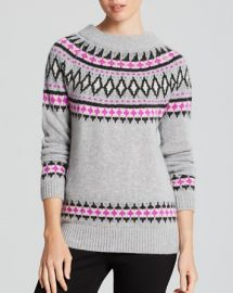 AQUA Cashmere Sweater - Fairisle Zip Shoulder Crewneck at Bloomingdales