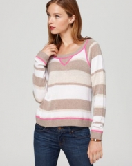 AQUA Cashmere Sweatshirt - Stripe at Bloomingdales