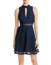 AQUA Circle Lace Mock Neck Dress at Bloomingdales