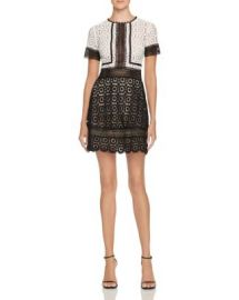 AQUA Color Block Lace Dress at Bloomingdales