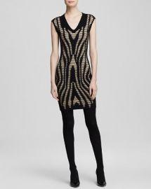 AQUA Dress - Anika Splice Knit V-Neck at Bloomingdales