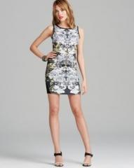 AQUA Dress - Floral Leaf Print Scuba Body-Con at Bloomingdales