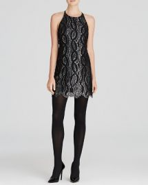 AQUA Dress - Metallic Scallop Lace Ponte Fit and Flare at Bloomingdales