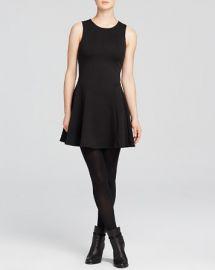 AQUA Dress - Ponte Drop Waist Fit and Flare in black at Bloomingdales
