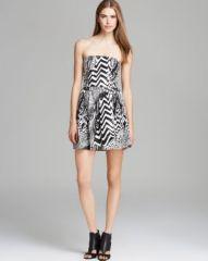 AQUA Dress - Strapless Brush Stroke Print at Bloomingdales