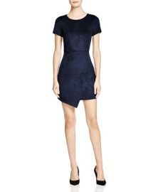 AQUA Faux Suede Dress in Navy at Bloomingdales
