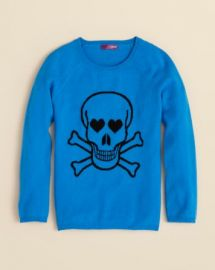 AQUA Girlsand039 Cashmere Skull Intarsia Sweater - Sizes S-XL at Bloomingdales