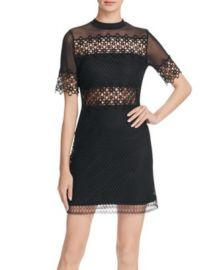 AQUA Illusion Yoke Lace Dress at Bloomingdales