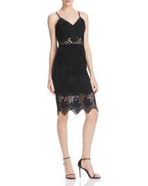 AQUA Lace Cami Dress in Black at Bloomingdales