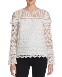 AQUA Lace Long Sleeve Top at Bloomingdales