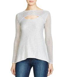 AQUA Lena Pointelle Trim Sweater at Bloomingdales