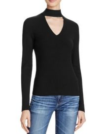 AQUA Long Sleeve Rib Peek V-Neck Top at Bloomingdales