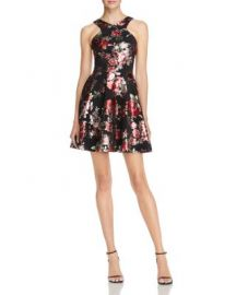 AQUA Metallic Floral Print Dress - 100  Exclusive at Bloomingdales