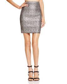 AQUA Metallic Splatter Print Pencil Skirt at Bloomingdales