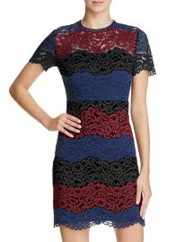 AQUA Multi Lace Bodycon Dress in Red at Bloomingdales