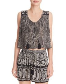 AQUA Paisley Button Front Tank at Bloomingdales