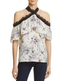 AQUA Printed Cold-Shoulder Halter Top - 100  Exclusive at Bloomingdales