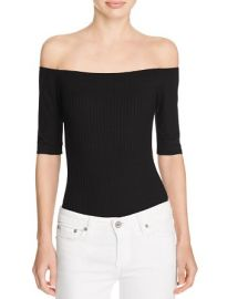 AQUA Ribbed Off-The-Shoulder Bodysuit at Bloomingdales