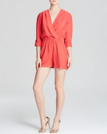 AQUA Romper - Roll Sleeve Crinkle at Bloomingdales