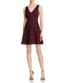 AQUA Rose Jacquard V-Neck Dress at Bloomingdales