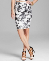 AQUA Skirt - Geranium Jersey Pencil at Bloomingdales