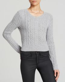 AQUA Sweater - Cable Cropped Cashmere in Grey at Bloomingdales