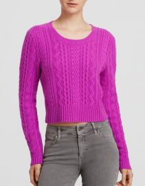 AQUA Sweater - Cable Cropped Cashmere in pink at Bloomingdales