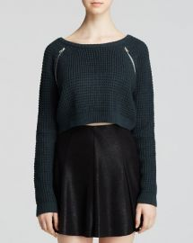 AQUA Sweater - Scoop Neck Zip Detail Crop at Bloomingdales