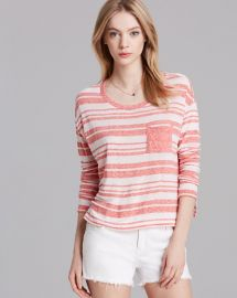 AQUA Tee - Drop Shoulder Stripe in coral at Bloomingdales