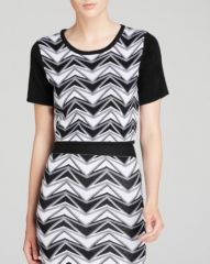 AQUA Top - Chevron Color Block Crop at Bloomingdales