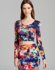 AQUA Top - Photo Print Ballet Crop at Bloomingdales