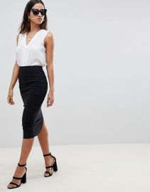 ASOS DESIGN high waisted longerline pencil skirt at Asos