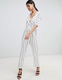 4c96b68d40 ASOS DESIGN wrap jumpsuit with self belt in stripe at asos com at Asos