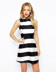 ASOS  ASOS A-Line Dress in Striped Bonded Scuba at Asos