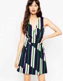 ASOS  ASOS A-Line Wrap Dress in Stripe with Buckle Detail at Asos