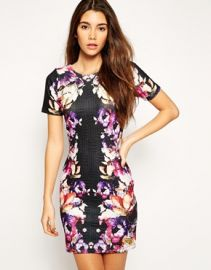 ASOS  ASOS Bodycon Dress in Rose Floral Mirror Texture at Asos