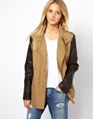 ASOS  ASOS Casual Leather Look Sleeve Trench at Asos