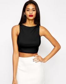 ASOS  ASOS Crop Top in Premium Fabric with Square Neck at Asos
