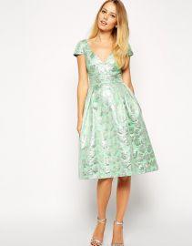 ASOS  ASOS Deep Plunge Metallic Prom Dress at Asos