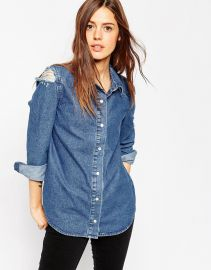 ASOS  ASOS Denim Midwash Shirt With Rips at Asos