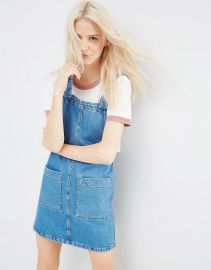 ASOS  ASOS Denim Mini Pinafore Dress In Mid-Wash Blue at Asos